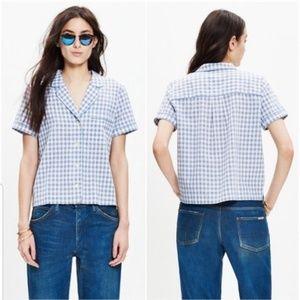 Madewell Gingham Piped Pajama Style Shirt